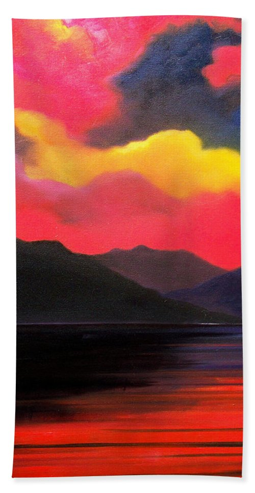 Surreal Beach Towel featuring the painting Crimson clouds by Sergey Bezhinets