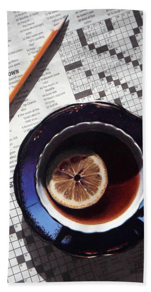 Still Life Beach Towel featuring the painting Crossword by Dianna Ponting