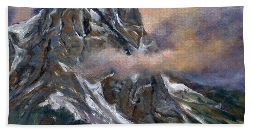 Landscape Beach Towel featuring the painting Daddy Teton by Jim Gola