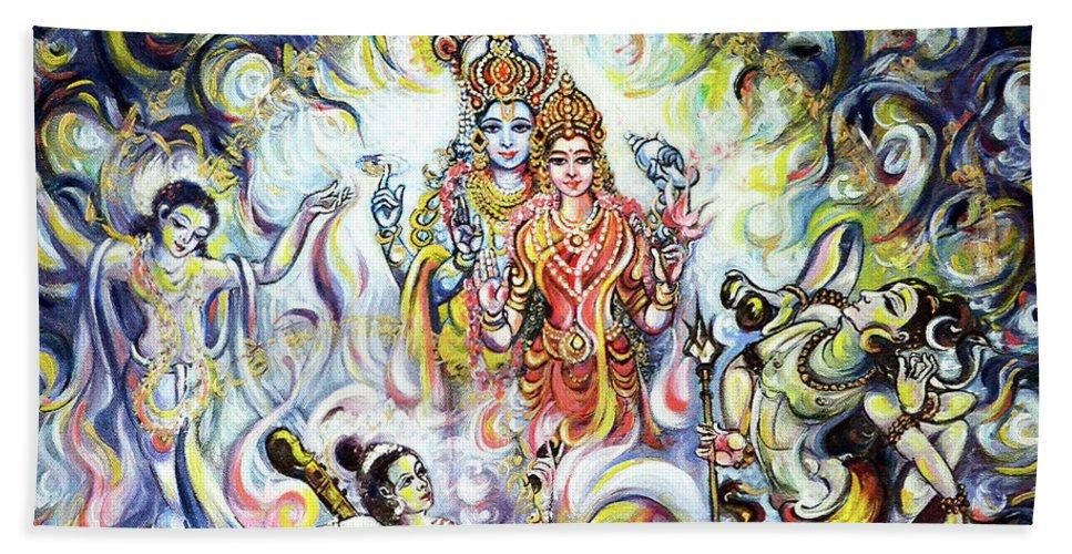 Dancing And Chanting For Vishnu Lakshmi Beach Towel For Sale By Harsh Malik