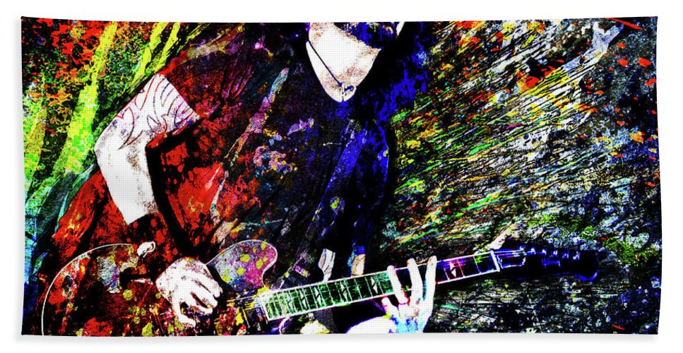 Dave Grohl Beach Towel featuring the mixed media Dave Grohl Art by Ryan Rock Artist