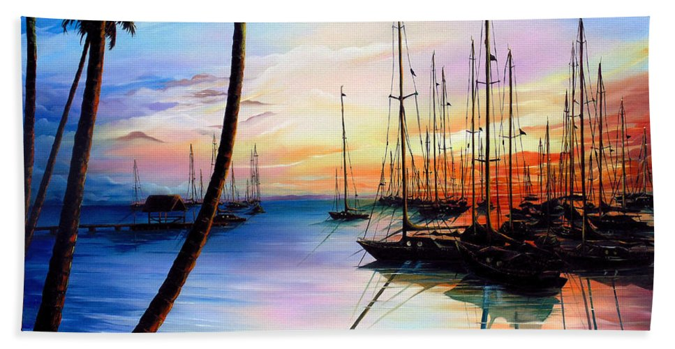 Ocean Painting Seascape Yacht Painting Sailboat Painting Sunset Painting Tropical Painting Caribbean Painting Yacht Painting At The End Of A Yachting Regatta At Pigeon Point Tobago Painting Beach Towel featuring the painting DAYS END Yachting Regatta At Pigeon Point Tobago by Karin Dawn Kelshall- Best