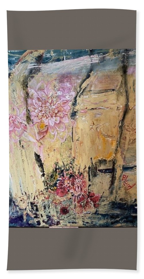 Landscape Beach Towel featuring the painting Delilah by Peggy Blood