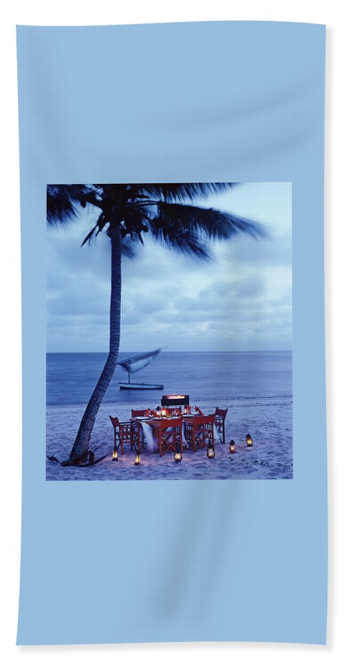 Dinner Table on the Beach in Mozambique Beach Sheet