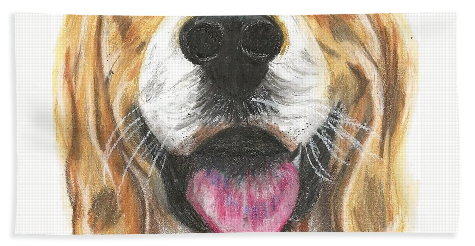 Dog Face Beach Towel featuring the painting Dog Face by Monica Resinger