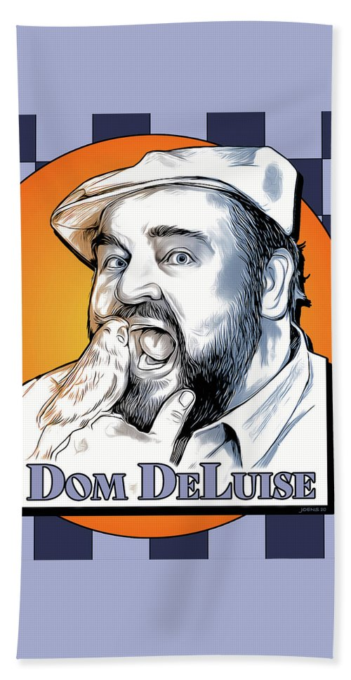 Dom Deluise Beach Towel featuring the digital art Dom and the Bird by Greg Joens