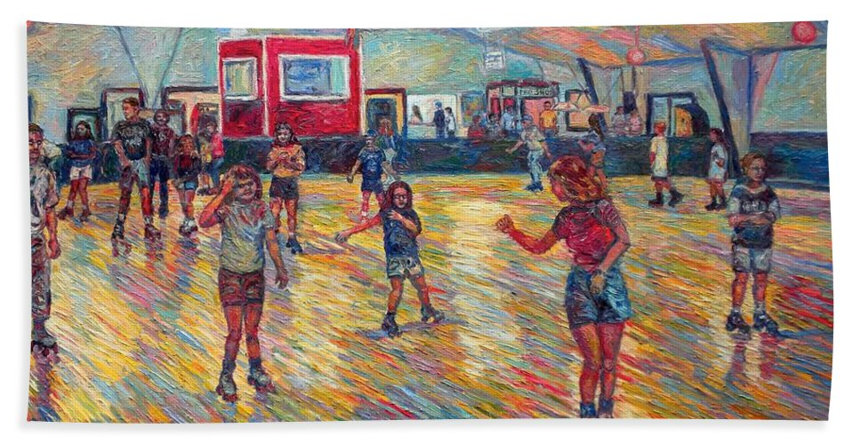 Figure Beach Towel featuring the painting Dominion Skating Rink by Kendall Kessler