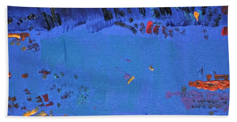 Blue Beach Towel featuring the painting Dry Heat by Pam Roth O'Mara
