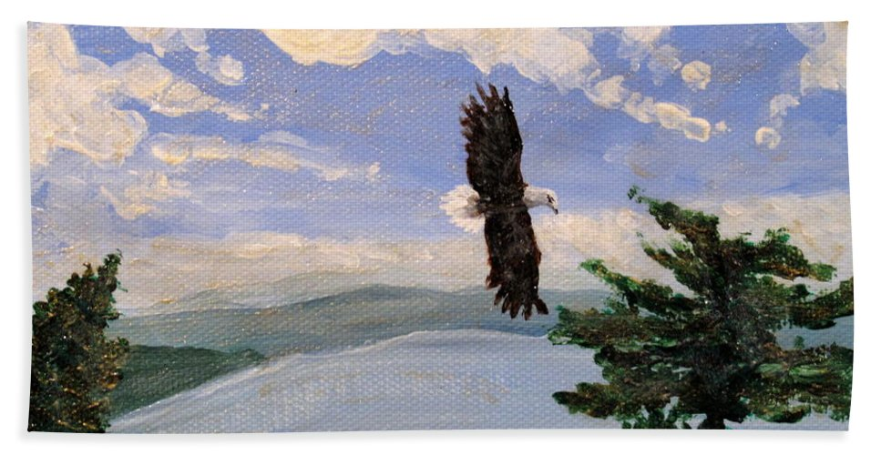Bald Headed Eagle Beach Towel featuring the painting Eagles Fly Over Lake Huron by Ian MacDonald
