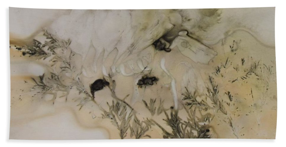 Nature Beach Towel featuring the mixed media Eco print 5 by Charla Van Vlack