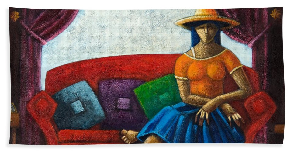 Puerto Rico Beach Towel featuring the painting El Ultimo Romance Del Verano by Oscar Ortiz