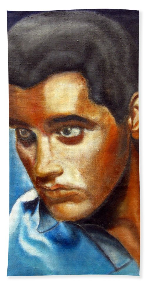 Elvis Beach Towel featuring the painting Elvis Presley - moody blue by Tom Conway