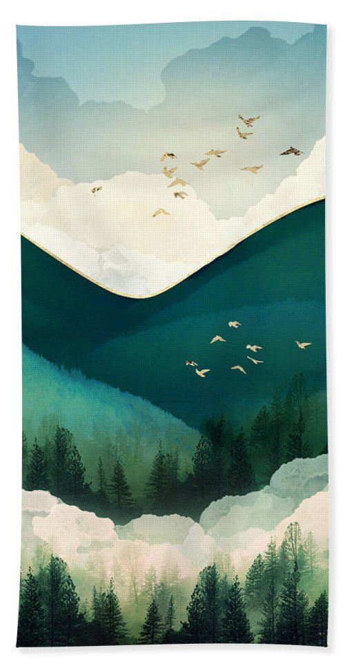 Emerald Beach Towel featuring the digital art Emerald Hills by Spacefrog Designs