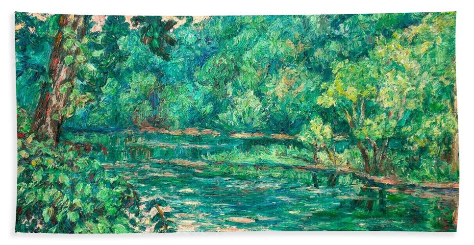 Landscape Beach Towel featuring the painting Evening River Motion by Kendall Kessler