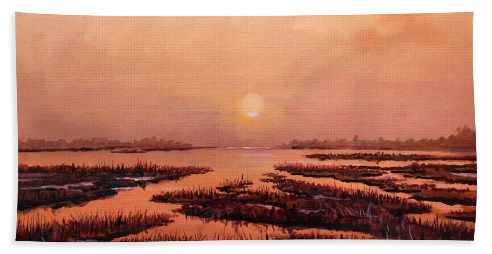 Marsh Beach Towel featuring the painting Evening Time by Sinisa Saratlic