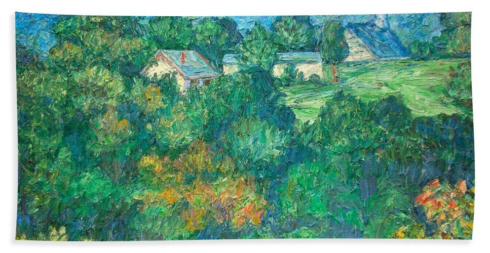 Kendall Kessler Beach Towel featuring the painting Fairlawn Ridge by Kendall Kessler
