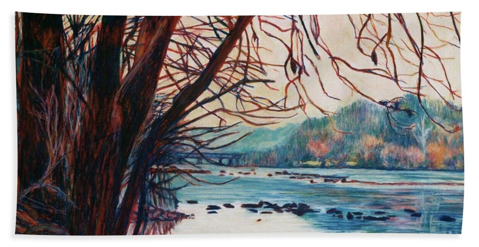 New River Beach Towel featuring the pastel Fall on the New River by Kendall Kessler