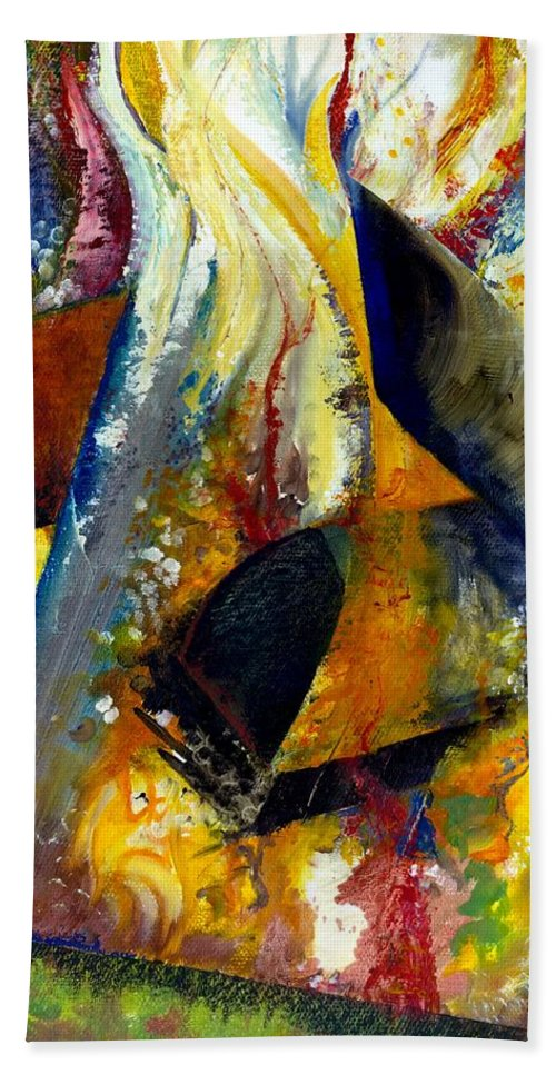 Rustic Beach Towel featuring the painting Fire Abstract Study by Michelle Calkins