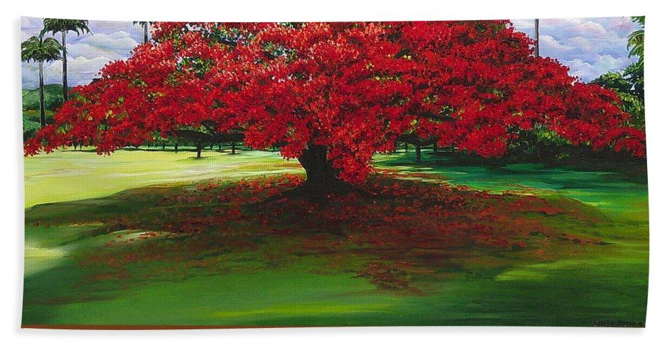 Flamboyant Tree Beach Towel featuring the painting Flamboyant Ablaze by Karin Dawn Kelshall- Best