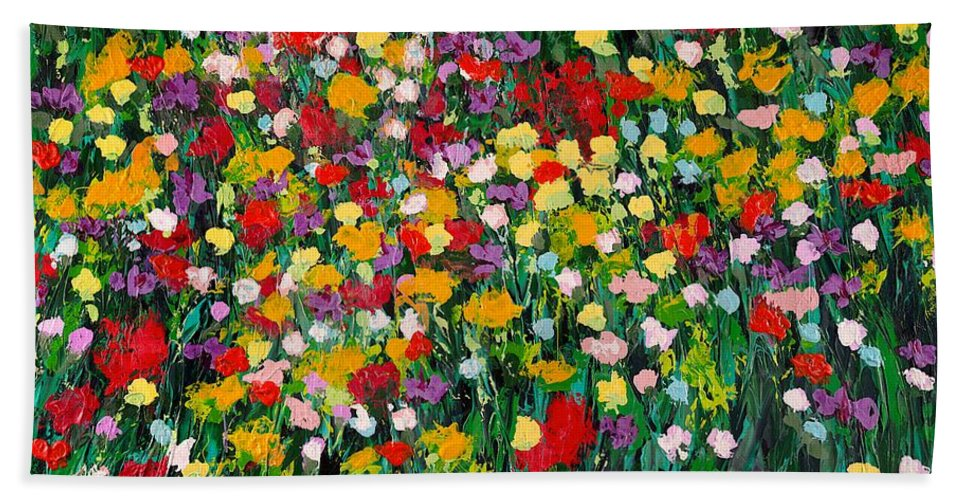 Landscape Beach Towel featuring the painting Floral Eruption by Allan P Friedlander