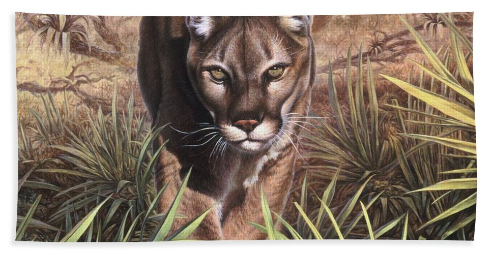 Florida Beach Towel featuring the painting Florida Panther by Hans Droog