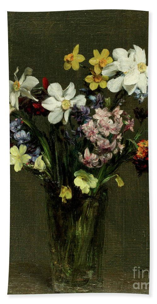 Still-life Beach Towel featuring the painting Flowers In A Vase, 1873 by Henri Fantin-Latour
