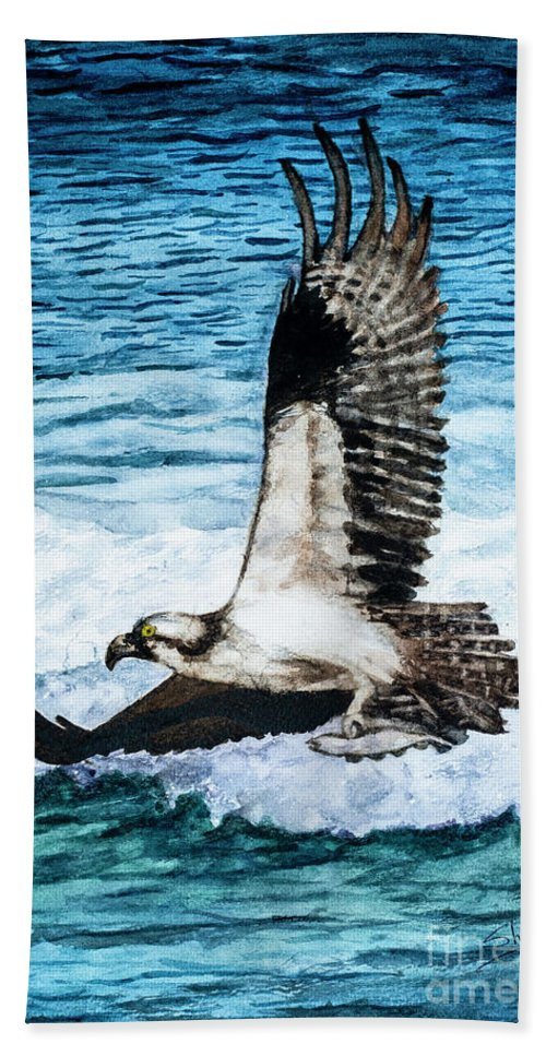 American Bald Eagles Beach Towel featuring the painting Flying Home With Dinner - Watercolor Art by Sher Nasser