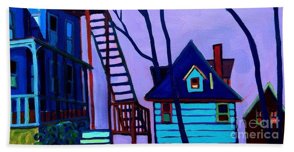 Landscape Beach Sheet featuring the painting Foster Street by Debra Bretton Robinson