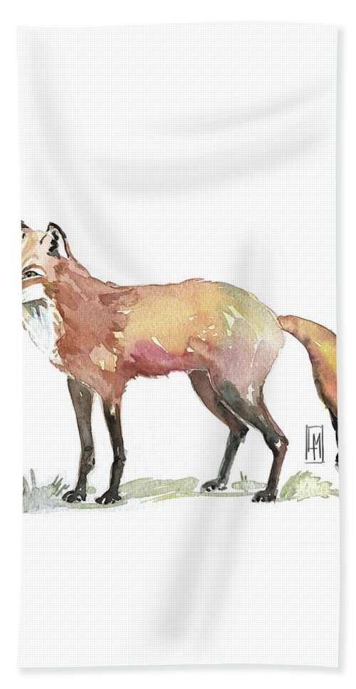Fox Beach Towel featuring the painting Foxy by Luisa Millicent