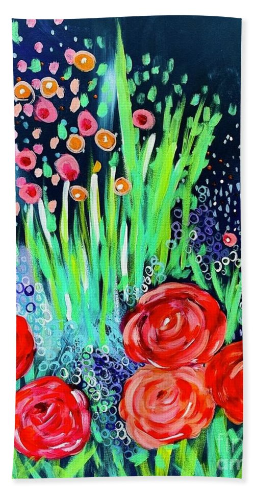 Fun Floral Beach Towel featuring the painting Fun Floral by Melinda Etzold