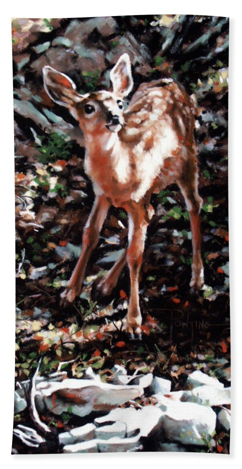 Deer Beach Towel featuring the painting Garden Ornament by Dianna Ponting