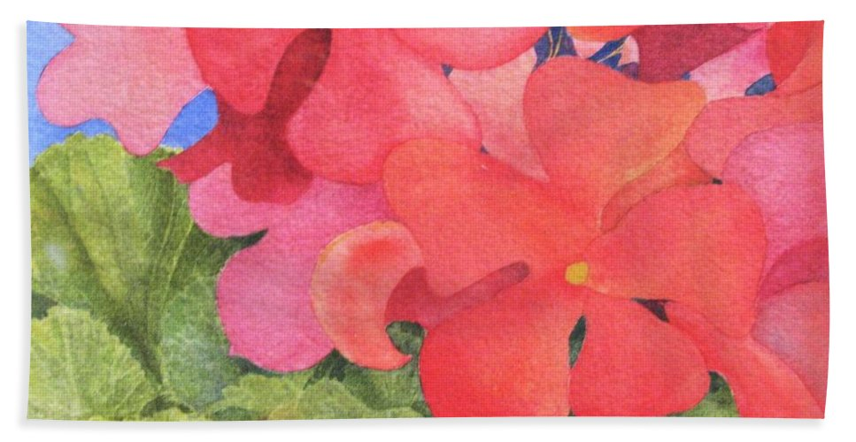 Florals Beach Towel featuring the painting Generium by Mary Ellen Mueller Legault
