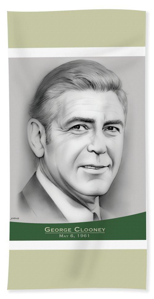 George Clooney Beach Towel featuring the drawing George Clooney birthday by Greg Joens