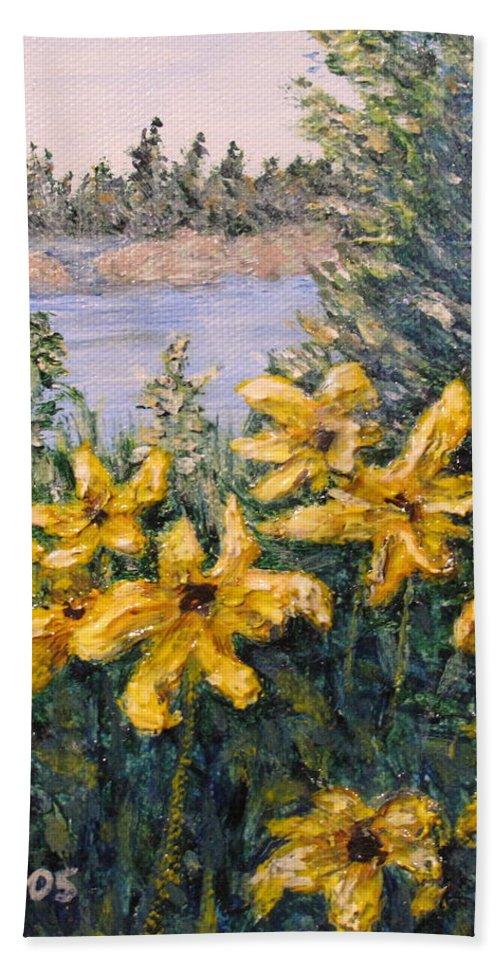 Georgian Bay Beach Towel featuring the painting Georgian Bay Flowers by Ian MacDonald