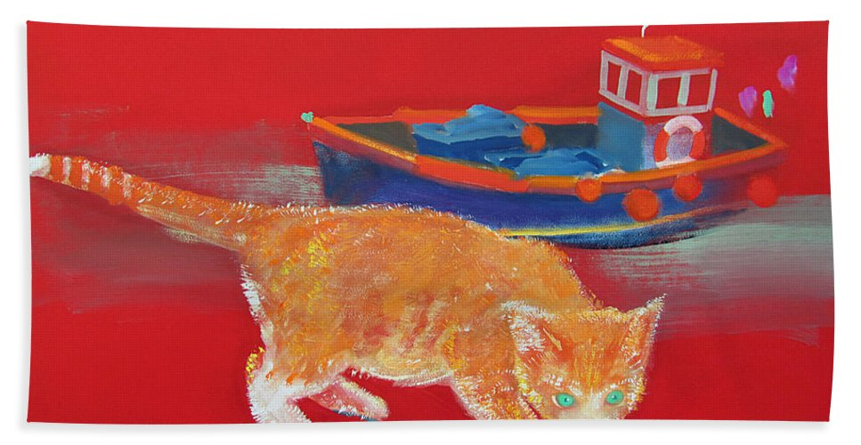 Cat Beach Towel featuring the painting Ginger Tabby Cat by Charles Stuart