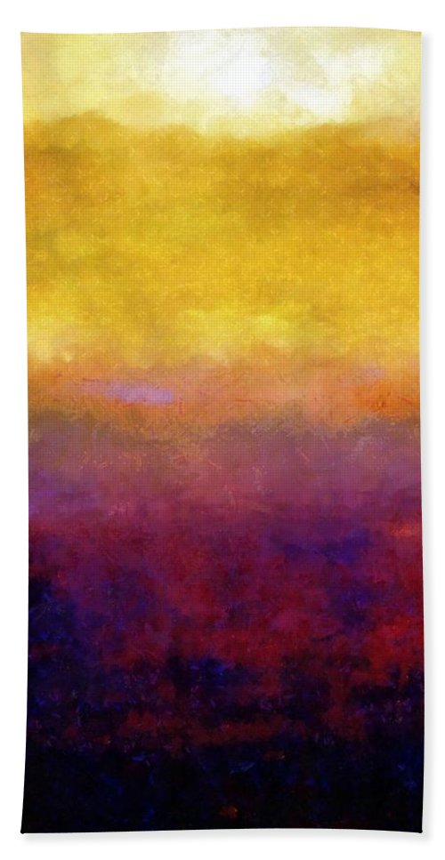 Abstract Beach Towel featuring the painting Golden Sunset by Michelle Calkins