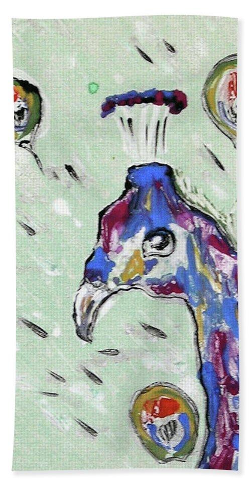 Monotype Beach Towel featuring the mixed media Grand Splendor by Cori Solomon
