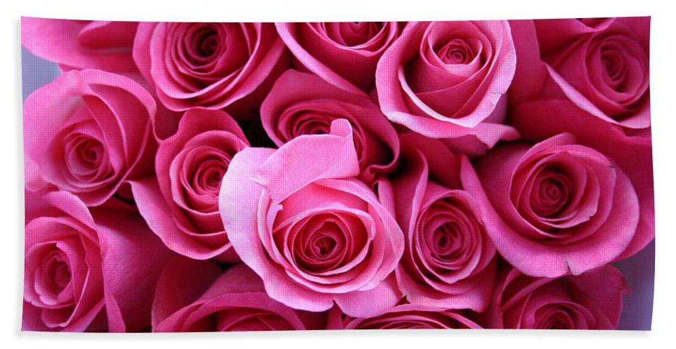 Pink Roses Beach Towel featuring the photograph Grandma Roses by Linda Sannuti