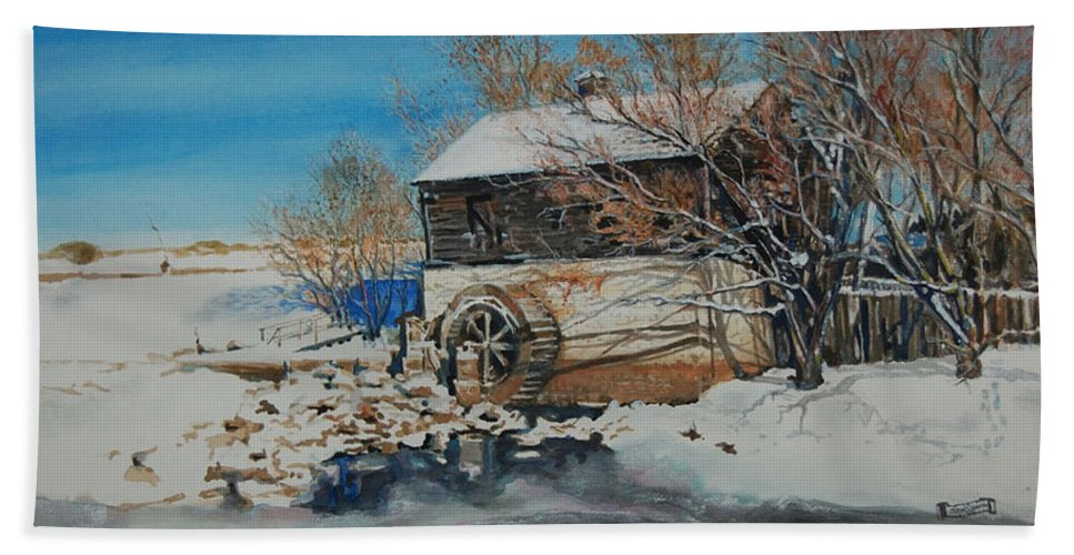 Mill Beach Towel featuring the painting Grants Old Mill by Susan Moore
