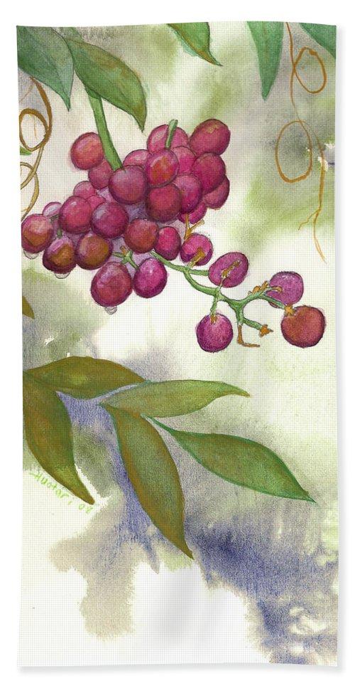 Rick Huotari Beach Towel featuring the painting Grapes Divine by Rick Huotari