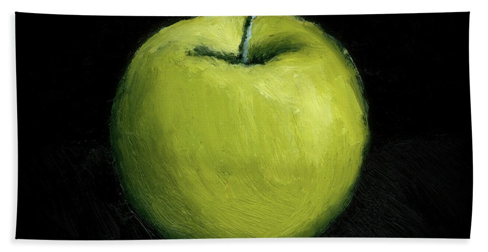 Apple Beach Towel featuring the painting Green Apple Still Life by Michelle Calkins