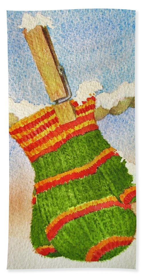 Christmas Beach Towel featuring the painting Green Mittens by Mary Ellen Mueller Legault
