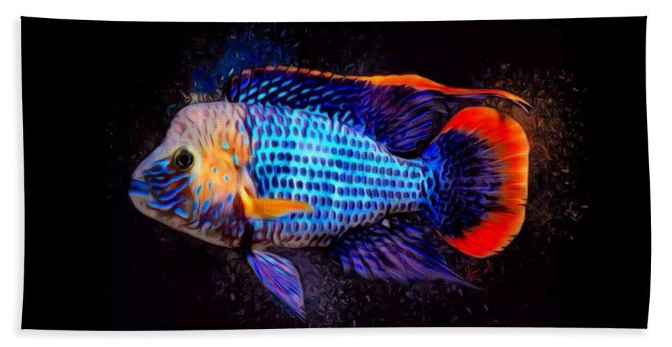 Green Terror Beach Towel featuring the digital art Green Terror Cichlid Fish by Scott Wallace Digital Designs