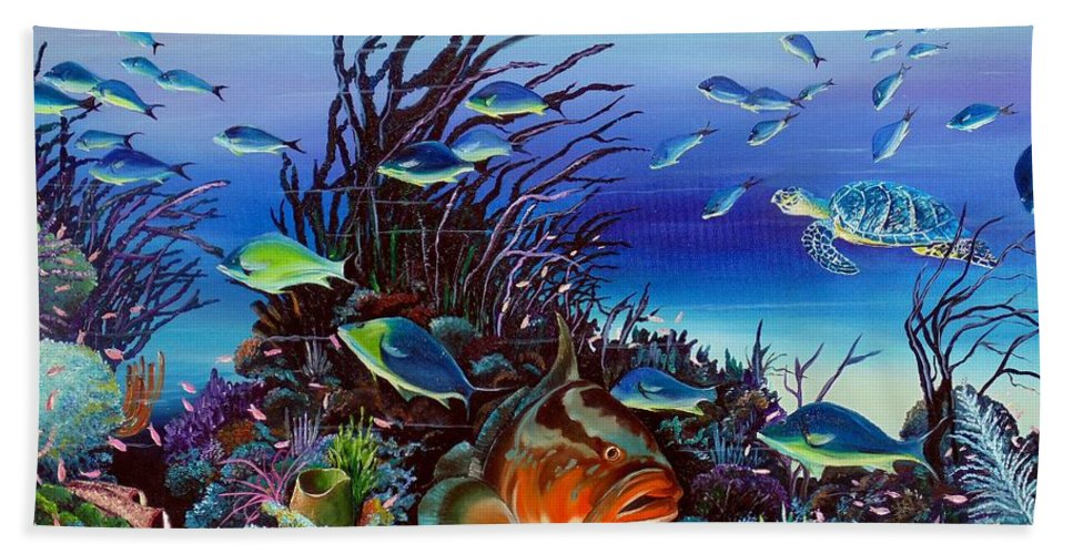 Ocean Painting Caribbean Painting Underwater Painting Coral Reef Painting Beach Towel featuring the painting Grumpy Grouper by Karin Dawn Kelshall- Best