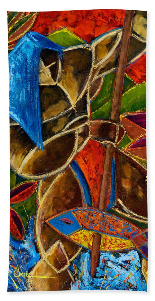 Puerto Rico Beach Towel featuring the painting Guarani... hombre de familia by Oscar Ortiz