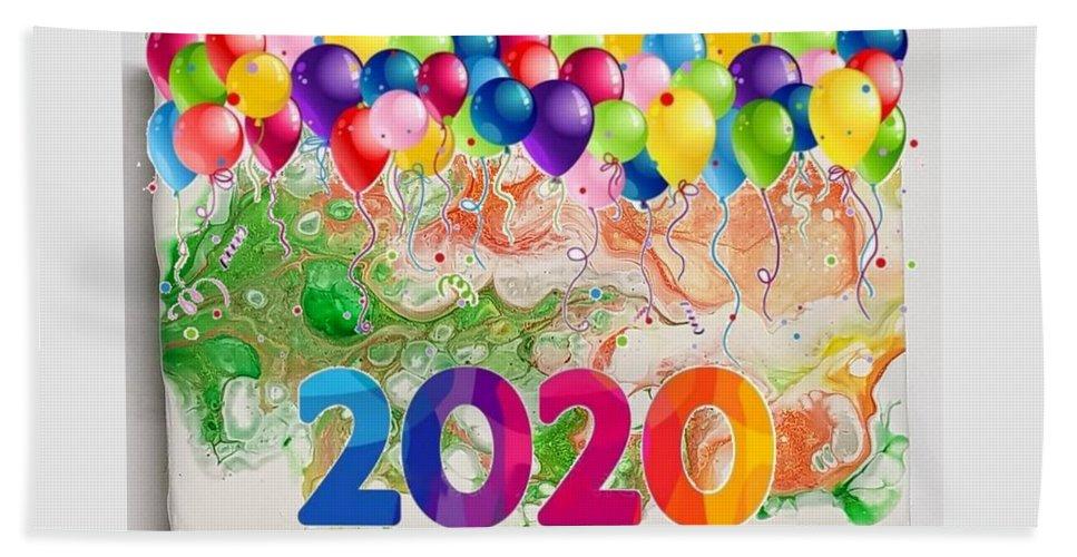 Happynewyear Beach Sheet featuring the mixed media Happy 2020 by Paola Baroni