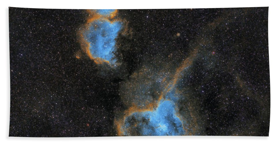 Nebula Beach Towel featuring the photograph Heart and Soul Nebula by Prabhu Astrophotography