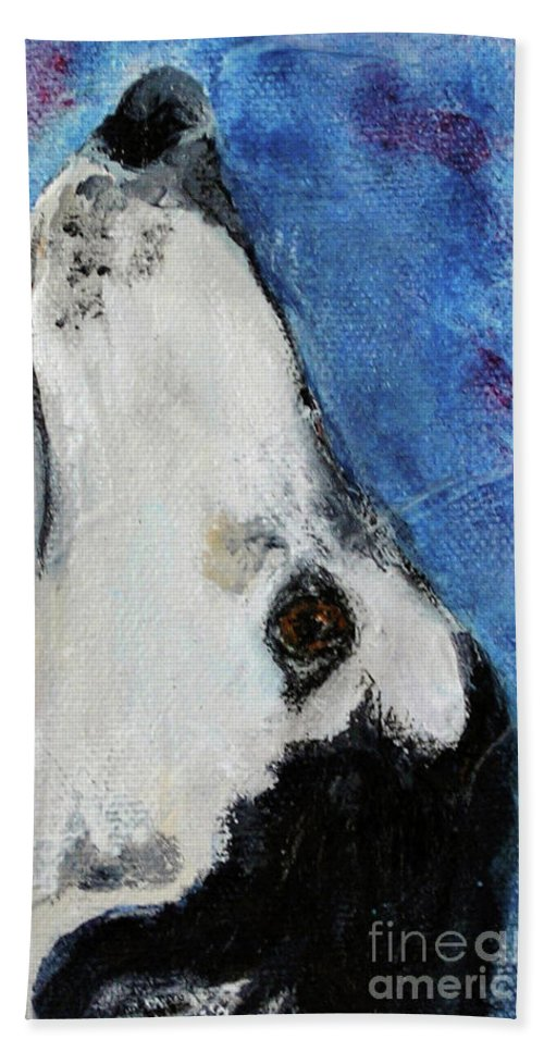 Saluki Beach Towel featuring the painting High and Mighty by Cori Solomon