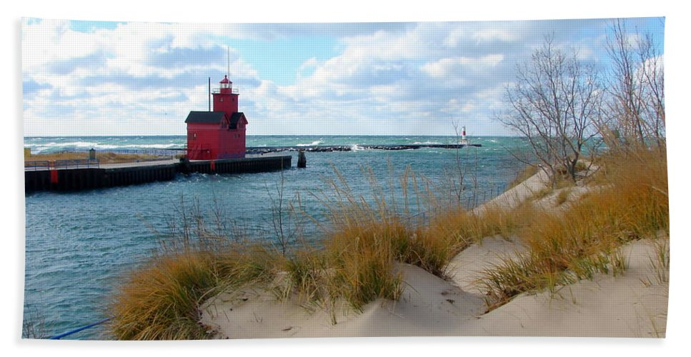 Lighthouse Beach Towel featuring the photograph Holland Harbor Lighthouse - Big Red - Michigan by Michelle Calkins