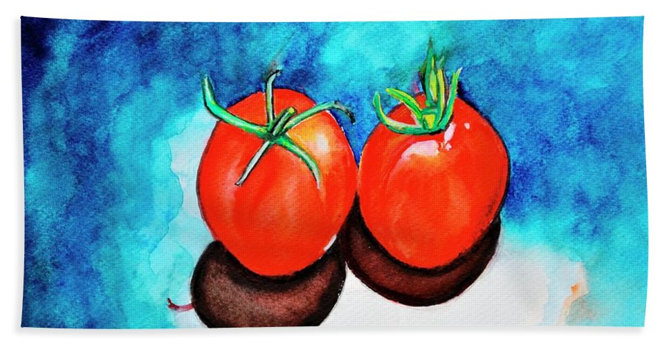 Tomatoes Beach Towel featuring the painting Homegrown Tomatoes still life by Manjiri Kanvinde